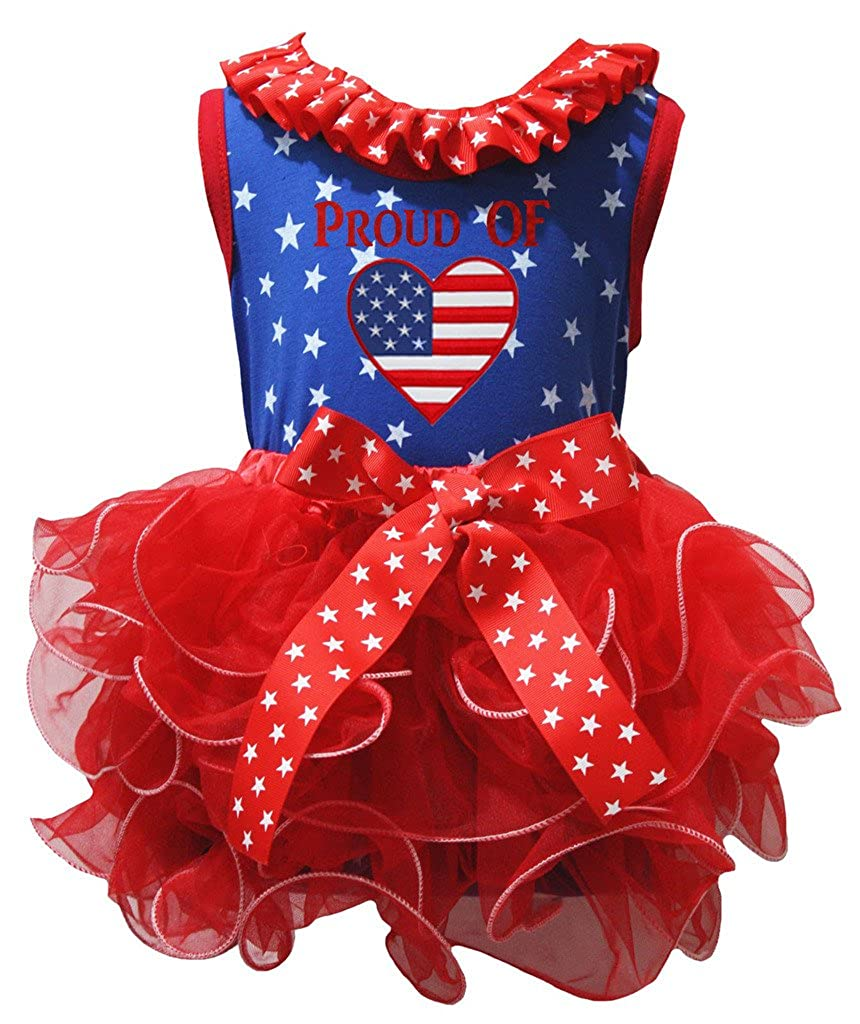 Petitebella Proud of America Heart Blue Stars Shirt Red Petal Skirt Set Nb-8y