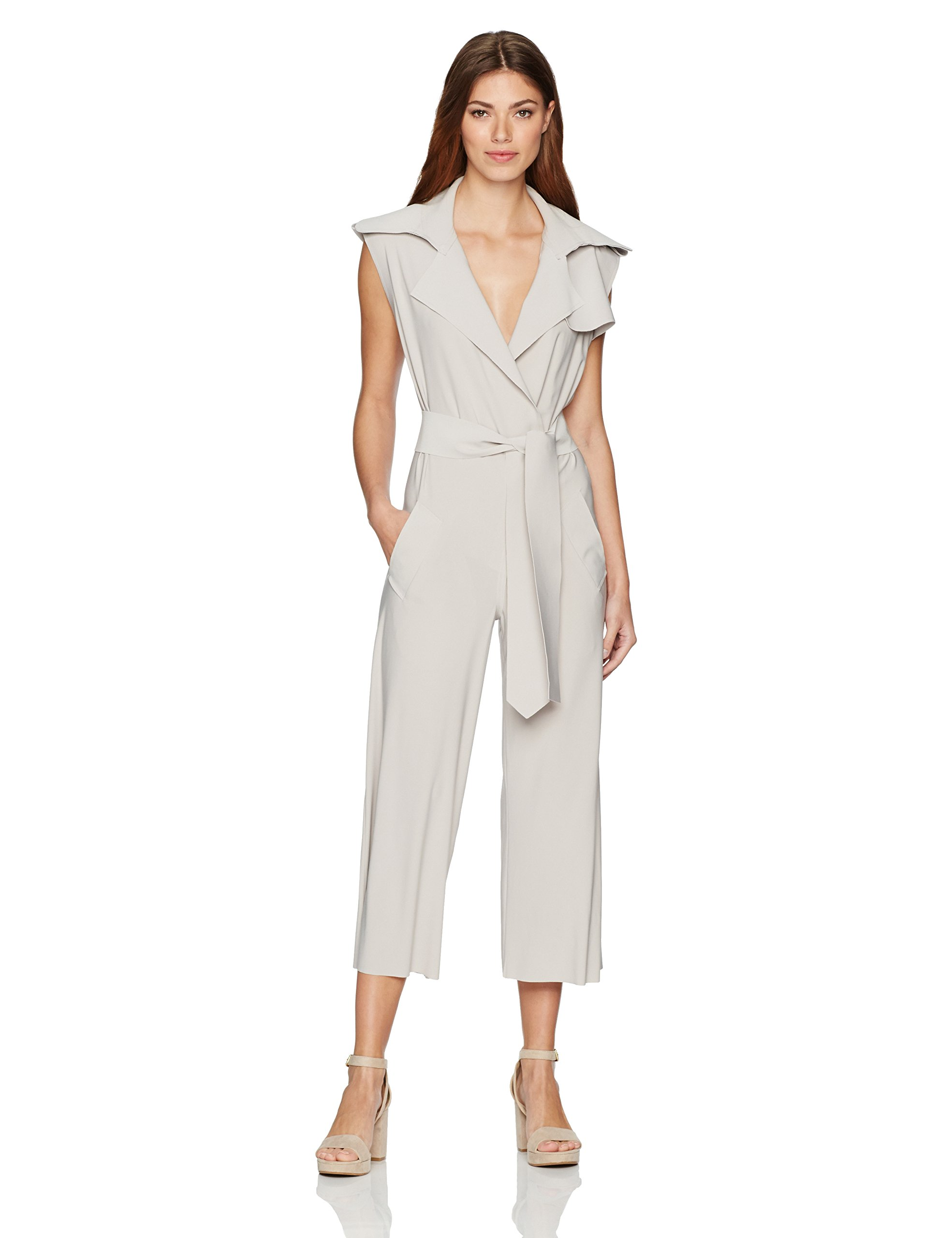 Norma Kamali Women's Double Breasted Trench Sleeveless Cropped Jumpsuit, Oyster, M by Norma Kamali