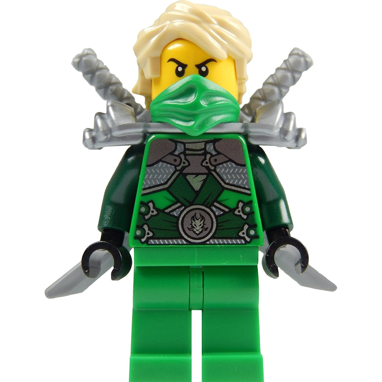 LEGO® Ninjago: Lloyd Garmadon (green ninja) Minifigure with shoulder armor and two katanas (swords) njo104
