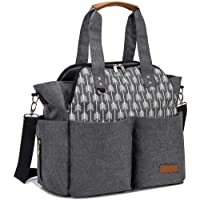 Lekebaby Nappy Changing Bag Large Diaper Tote Bag Convertible Baby Bag for Mom and Dad with Changing Mat and Insulated Pockets, Arrow Print, Grey