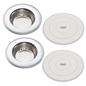 "Kitchen Sink Strainer & Sink Stopper Set of 2, Includes 4.5"" Stainless Steel Sink Strainer & 5"" Flat Suction Sink Stopper, Rust Free, Dishwasher Safe, Should Be Used Separately"