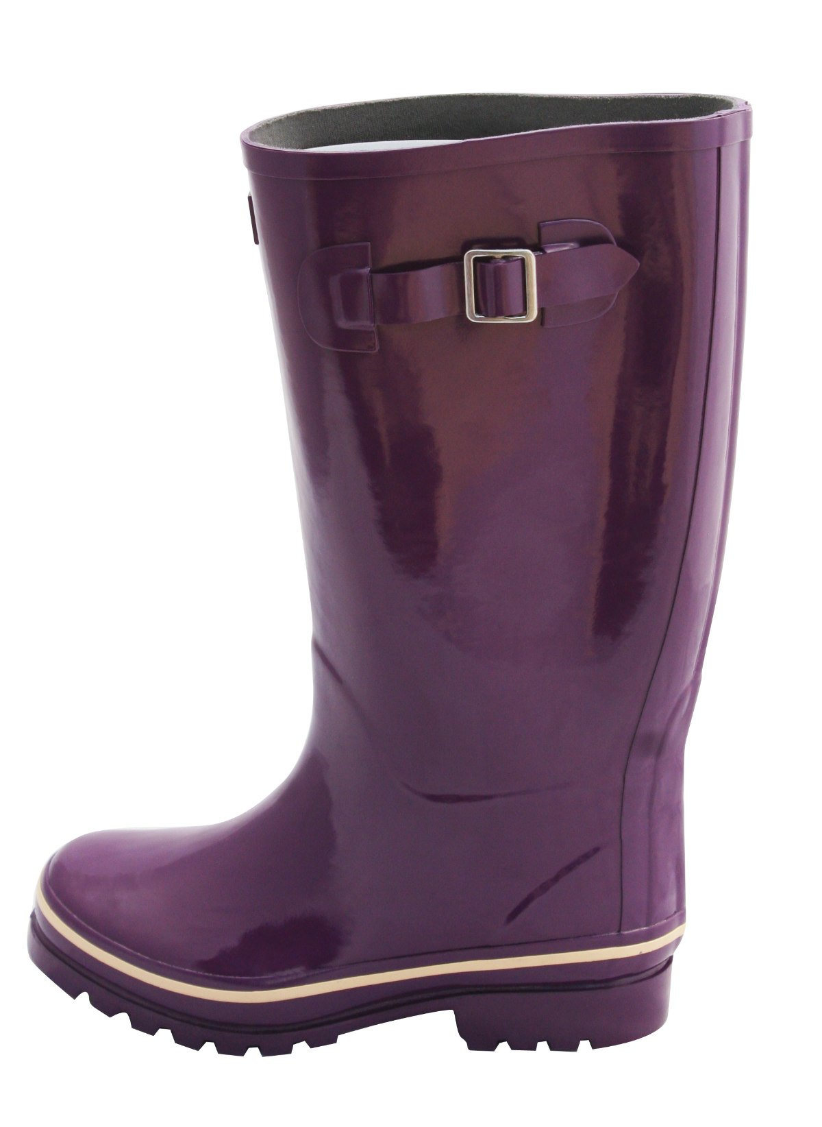 Jileon Wide Calf All Weather Durable Rubber Rain Boots for Women-Soft & Fluffy Lining on The Inside–Fits Calf Sizes up to 18 inches (7 W (Wide) US, Purple Gloss)