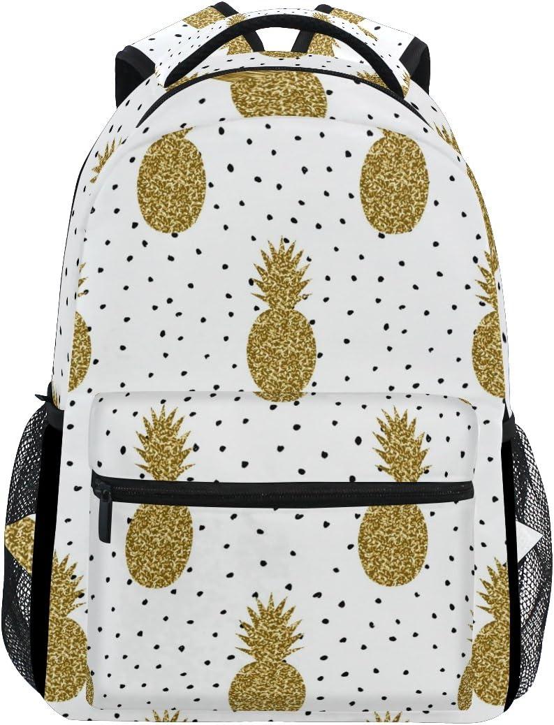 ZZKKO Tropical Pineapple Polka Dot Boys Girls School Computer Backpacks Book Bag Travel Hiking Camping Daypack