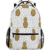 3fe4d823833c ZZKKO Tropical Pineapple Polka Dot Backpacks College School Book Bag Travel  Hiking Camping Daypack