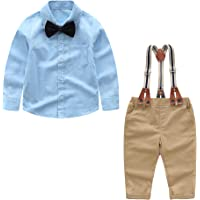 Baby Boy Clothes Set Shirt + Bowtie + Suspender Pants Set 4pcs Baby Boy Gentleman Outfits Set Toddler Dress Suit