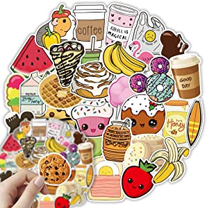 Cute Food Stickers for Water Bottles, 100 Pcs Waterproof Vinyl Stickers for Hydro Flask, Laptop Skateboard Computer Stickers Pack, Aesthetic Graffiti Stickers