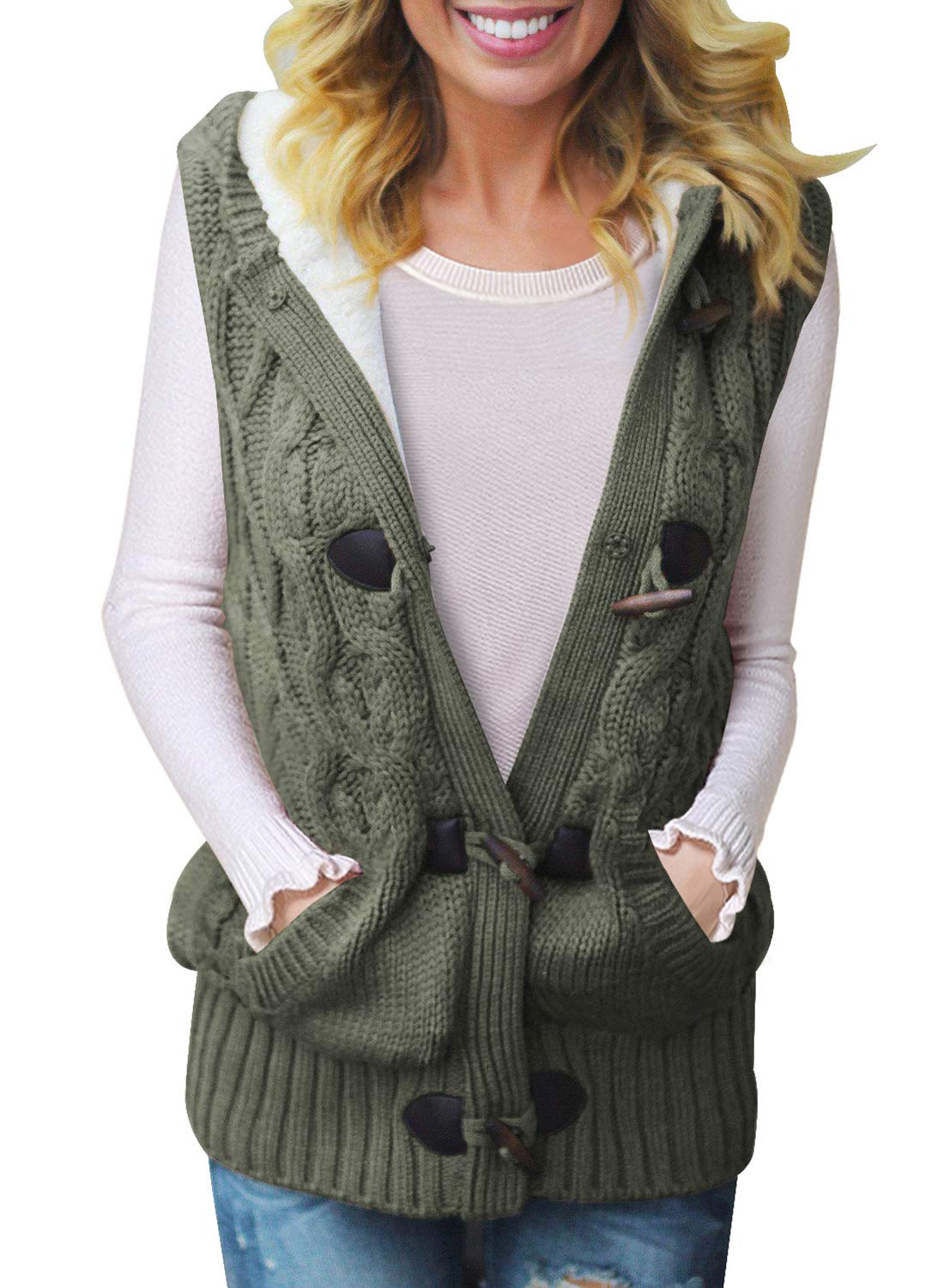 Sidefeel Women Hooded Sweater Vest Cable Knit Cardigan Outerwear Coat X-Large Amy Green by Sidefeel