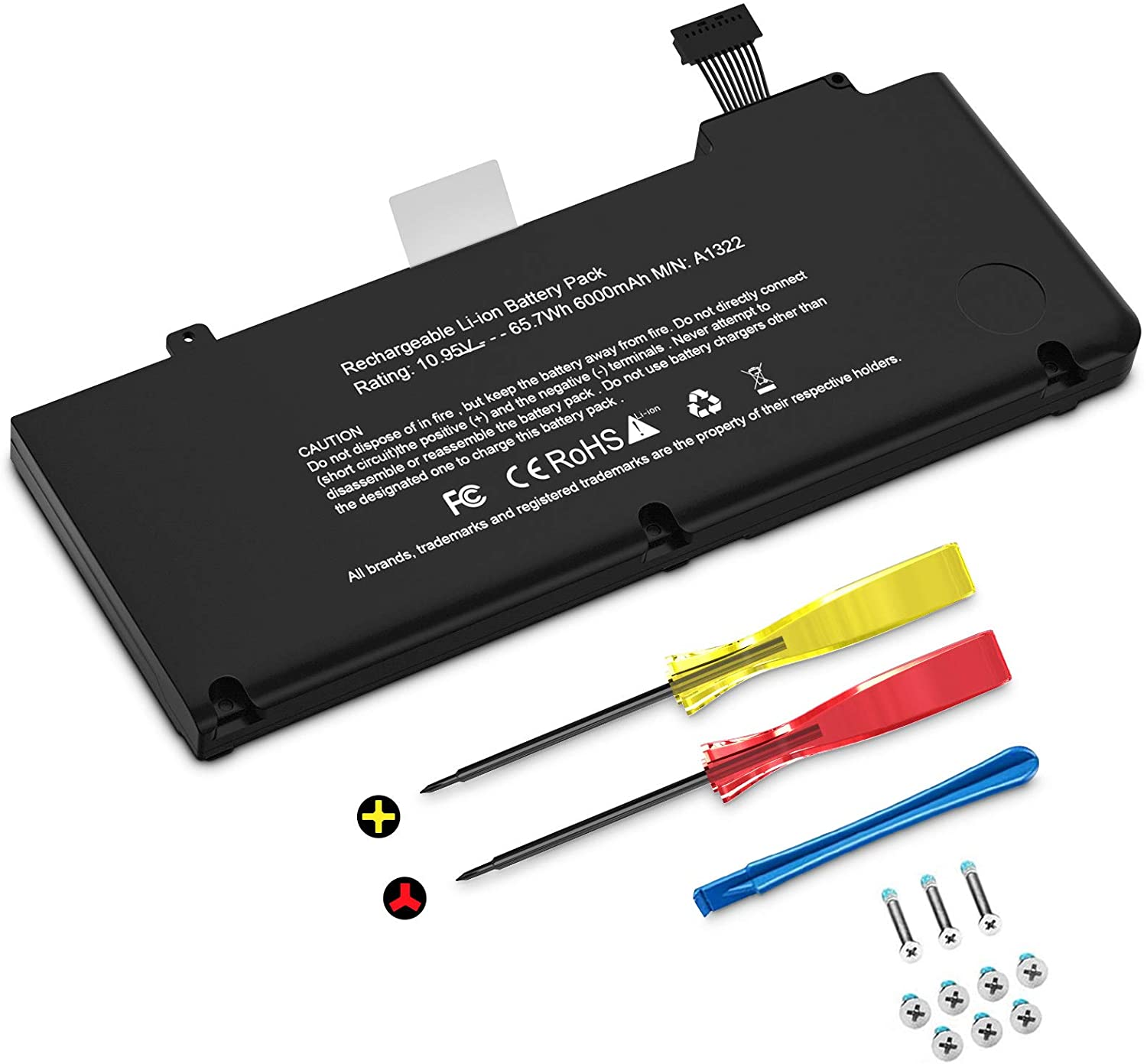 A1322 Battery, TECHOWL A1278 Battery for MacBook Pro 13 inch Mid 2009 2010 2011 2012, Replacement Batteries fit for MacBook Pro 5,5 7,1 8,1 9,2, MB990LL/A MB991ll/A MC724LL/A [10.95V 65.7Wh 6000mAh]