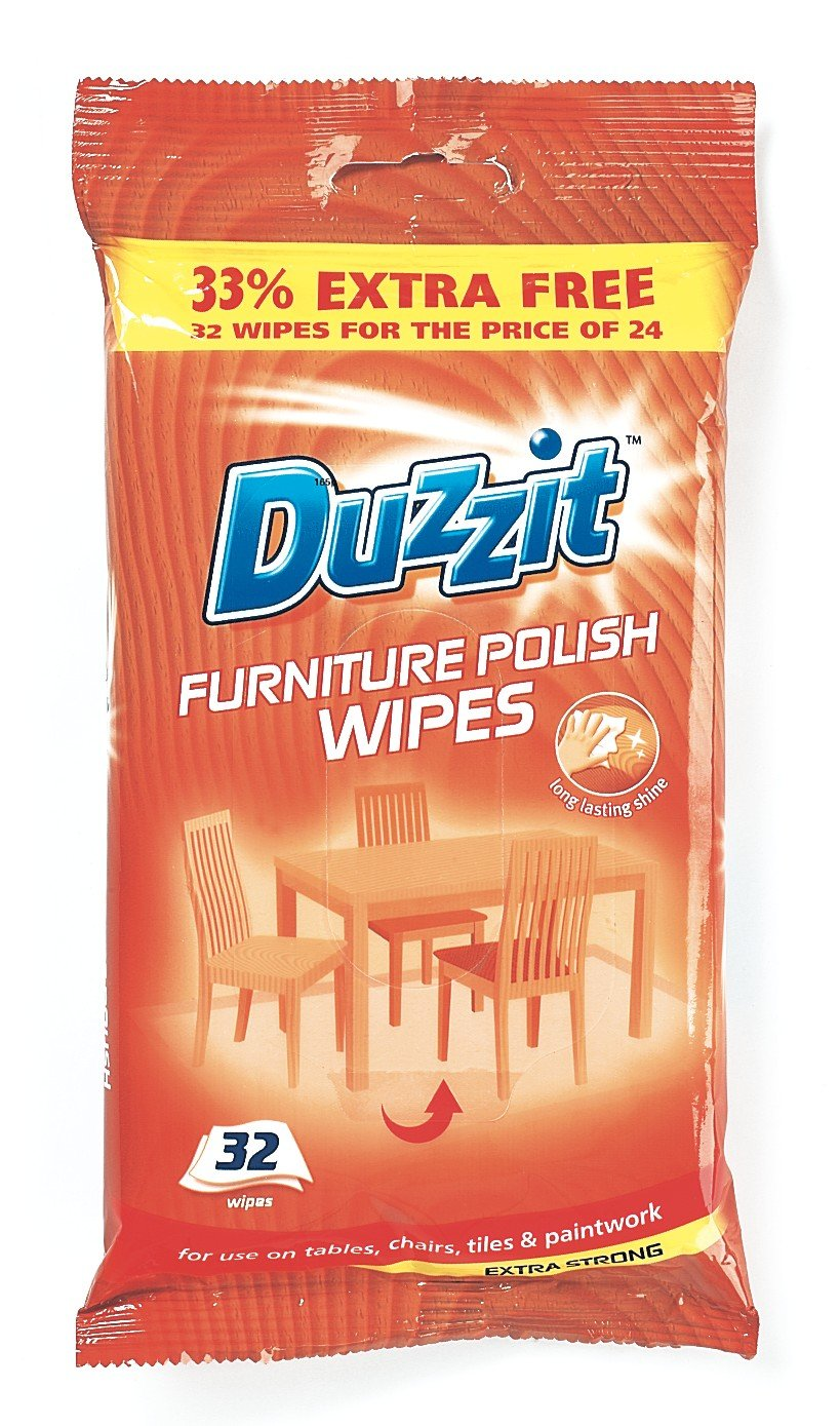 32 Duzzit Furniture Polish Wipes, use on tables,chairs