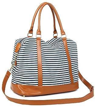 936e4a4ba376a CAMTOP Damen Handgepäck Weekender Reisetasche Canvas Frauen Segeltuch Reise Duffel  Carry-on Wochenende über Nacht