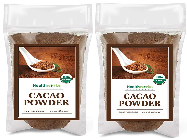 Healthworks Cacao Powder (112 Ounces / 7 Pounds)   Cocoa Chocolate Substitute   Certified Organic   Sugar-Free, Keto, Vegan & Non-GMO   Peruvian Bean/Nut Origin   Antioxidant Superfood