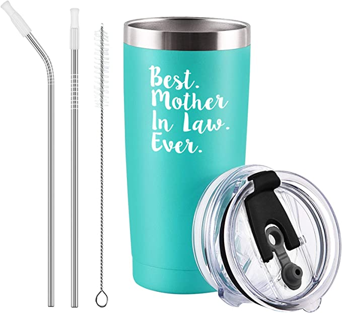 Qtencas Best Mother in Law Ever Travel Tumbler with 2 Lids, Gifts for Mother in Law from Daughter in Law, Son in Law, Christmas Birthday Mothers Day Gift, 20Oz Insulated Stainless Steel Tumbler, Mint