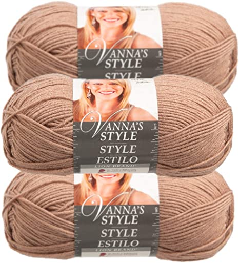 Lot of 3 Lion Brand Wool Yarn--Taupe
