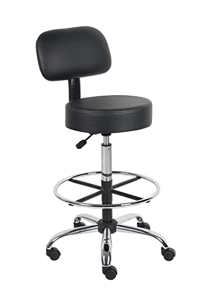 Exceptionnel Boss Office Products B16245 BK Be Well Medical Spa Drafting Stool With Back,  Black