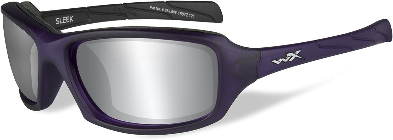 Wiley X WX Sleek Glasses Nylon Smoke Grey Silver Flash Lens Matte Violet Frame