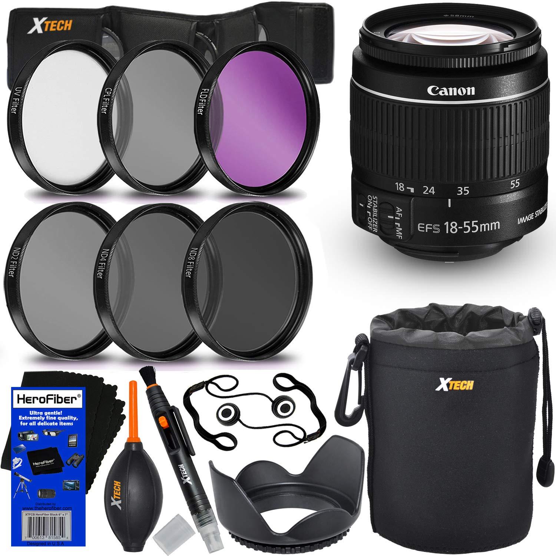 Canon EF-S 18-55mm f/3.5-5.6 IS Mark II ズームレンズ Canon DSLRカメラ用 (国際バージョン) + フィルターキット6点 (ND2, ND4, ND8, UV,FL-D,CPL) + 8点バンドルアクセサリーキット HeroFiber クリーニングクロス付き   B07GBJ97GG