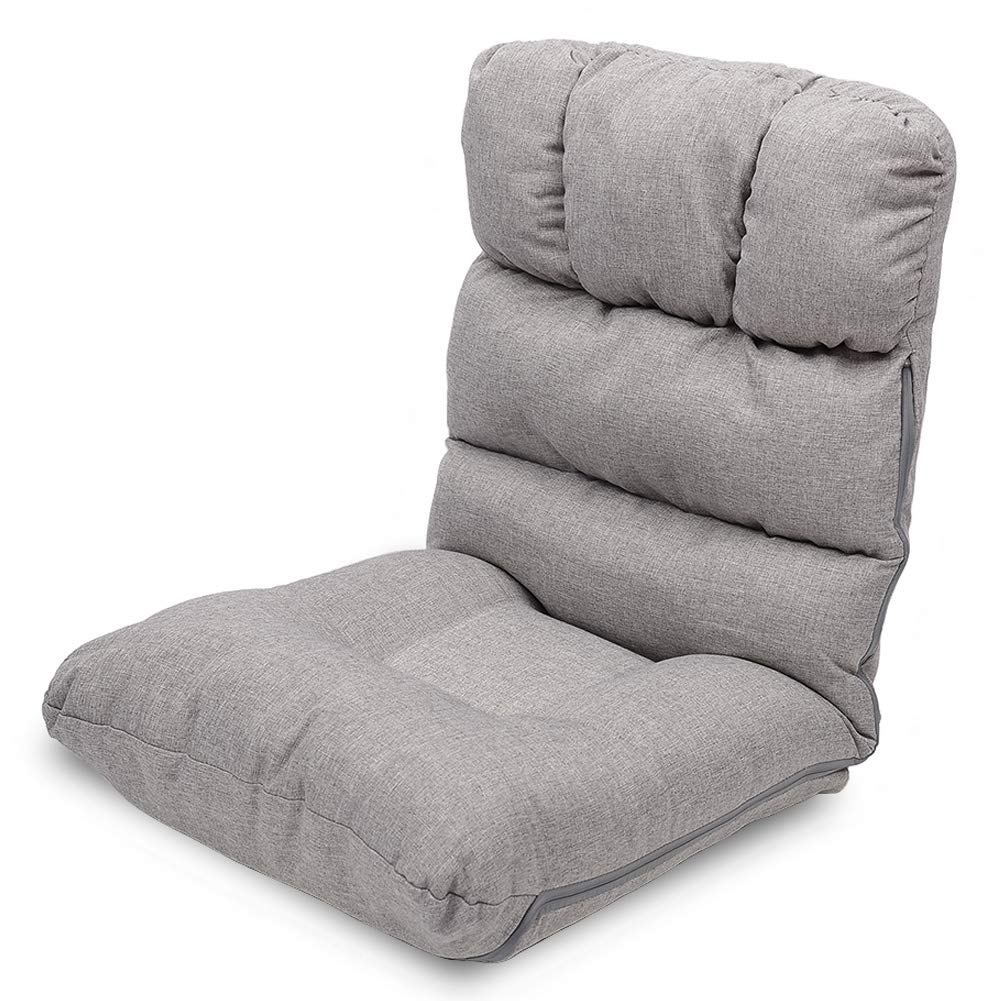WAYTRIM Indoor Adjustable Floor Chair 5-Position Folding Padded Kids Gaming Sofa Chair, Perfect for Meditation, Reading, TV Watching, Gray