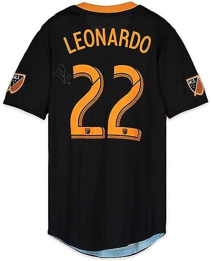 buy online bb612 9015f Leonardo Houston Dynamo Autographed Match-Used Black #22 ...