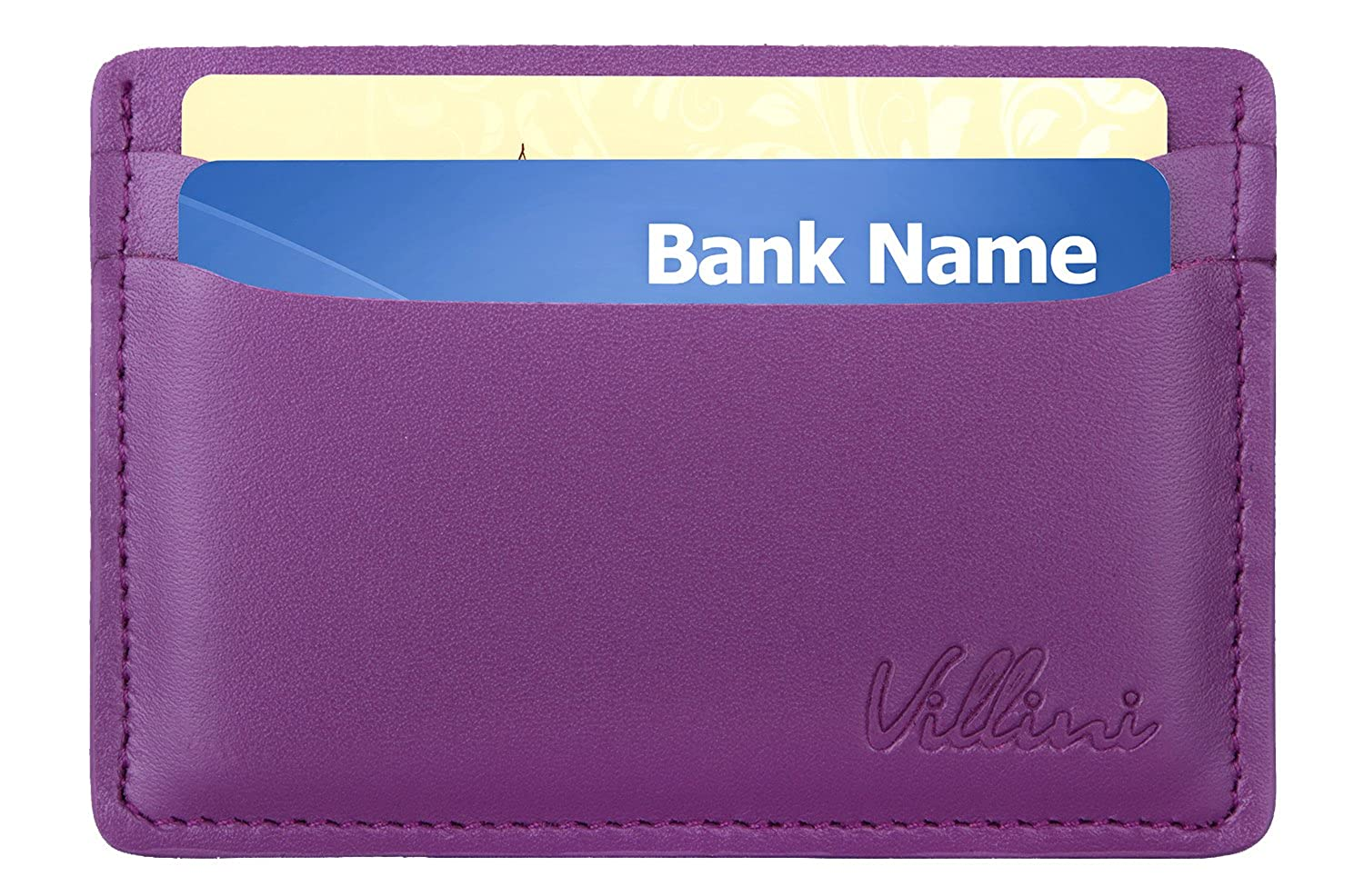 Villini Leather Slim Credit Card Holder - Thin Front Pocket Wallet - Compact Minimalist Card Case IUL-56