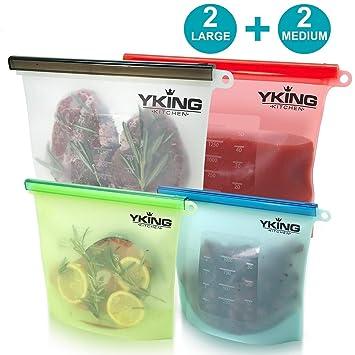 Bolsa de silicona reutilizable para alimentos Juego de 4 - (2 grande y 2 medianas) Bolsa de silicona para guardar alimentos - Bolsas de silicona ...