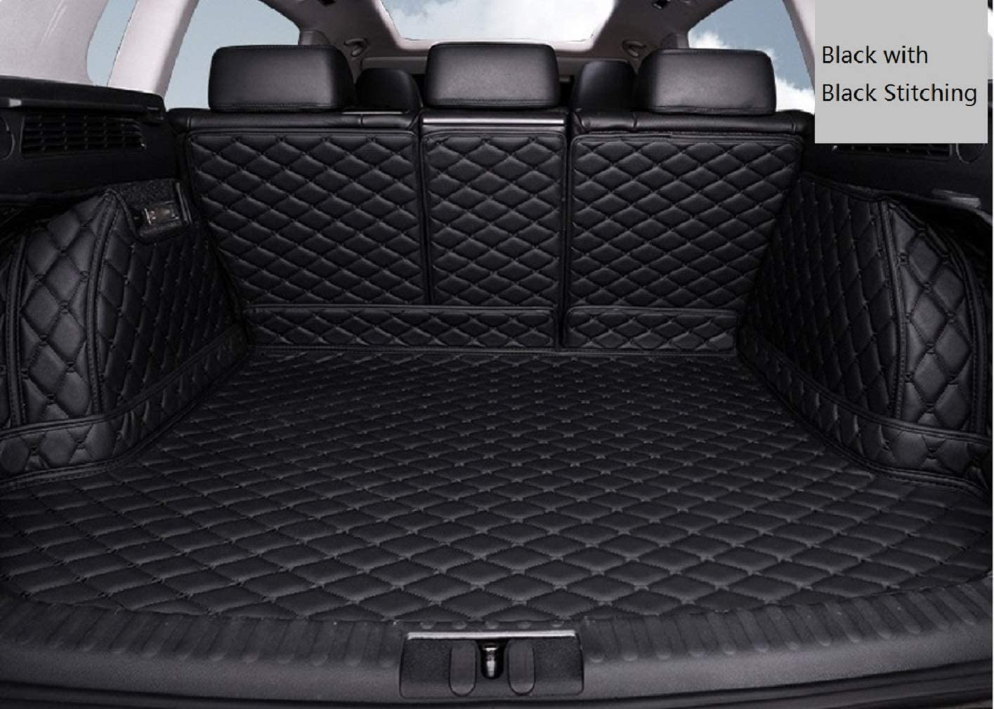 Bonus-Mats Custom Fit All-Weather Full Coverage Waterproof Car Cargo Liner Trunk Mat for Alfa Romeo Stelvio with Subwoofer on Left Black with Black Stitching