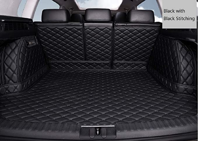 Connected Essentials Tailored Custom Fit Heavy Duty Automotive Carpet Boot Mat Boot Liner for Santa Fe 2010-2012 Black with Black Trim