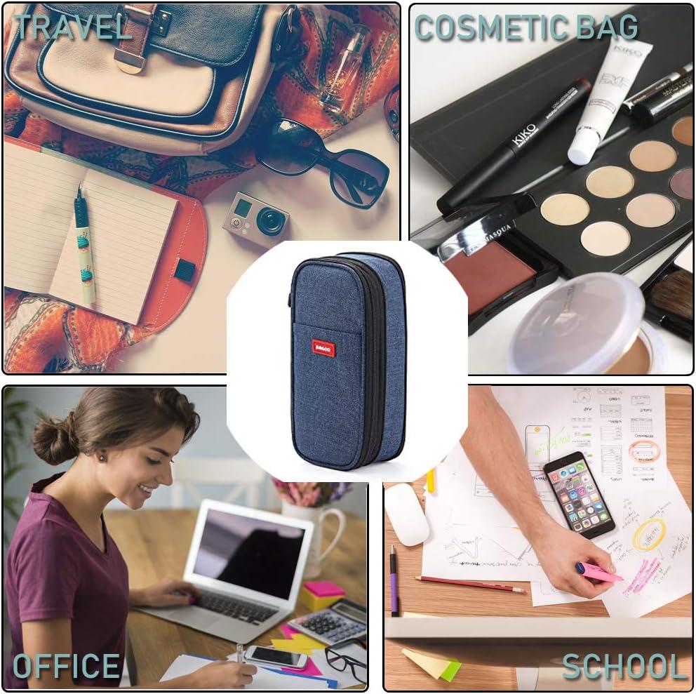 Estuche de gran capacidad para lápices, organizador de papelería, maquillaje, cosméticos, para niñas, 20 x 9 cm, color Versión actualizada: azul marino. 22 x 11 x 7 cm: Amazon.es: Oficina y papelería