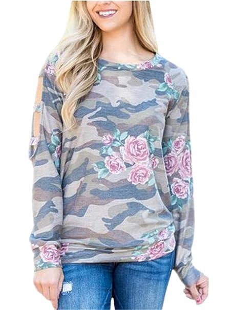 580068c14d9 AILIENT Mujeres Camisas Casual Cuello Redondo Manga Larga Tee Tops Elegante  Moda Flores Impreso Camiseta Hipster