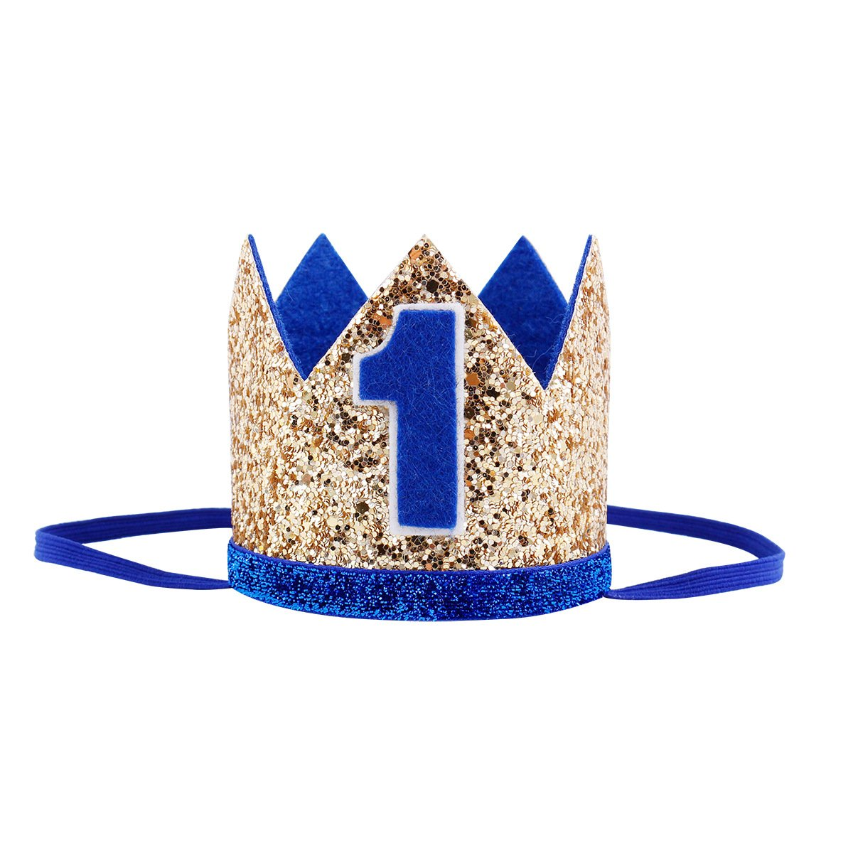 Maticr Glitter Baby Boy First Birthday Crown Number 1 Headband