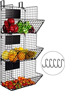 YUKOOL 3-Tier Metal Wall-Mounted Wire Baskets with Hanging Hook and Chalkboards, to Put Fruits, Vegetables, Snacks or Product Storage and Organization, etc in Kitchen