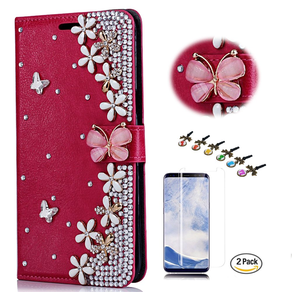 STENES LG Tribute HD Case - STYLISH - 3D Handmade Crystal Flowers Floral Butterfly Wallet Credit Card Slots Fold Media Stand Leather Cover For LG Tribute HD With Screen Protector - Red