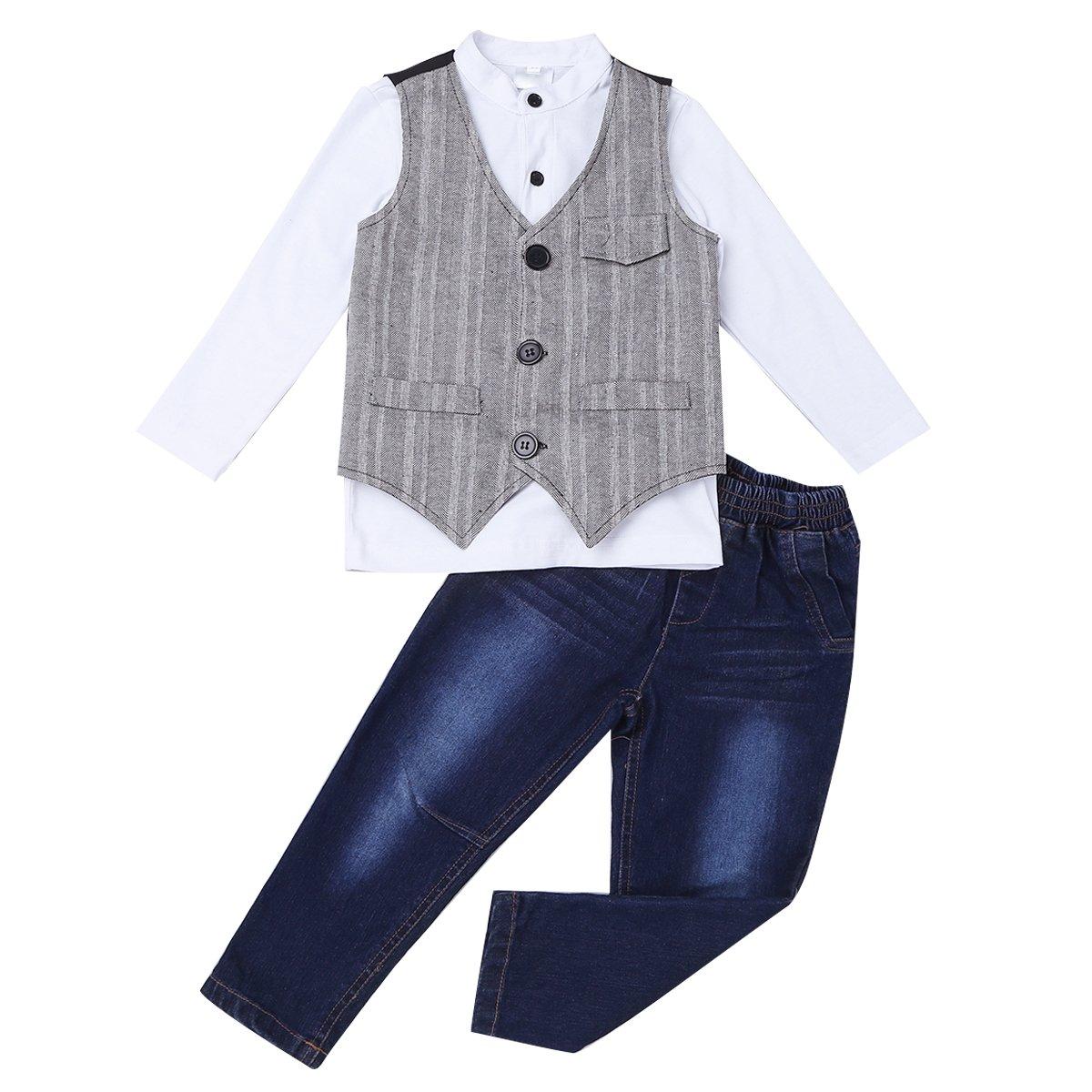 iiniim 3Pcs Kids Boys Gentleman Suit Waistcoat Vest Top Shirt with Jeans Pants Long Trousers Outfit Set White&Blue&Gray 3