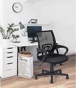 FurnitureR Silla de Oficina ergonómica Silla de Malla con Soporte Lumbar Silla de Escritorio para computadora con reposabrazos, Altura Ajustable, Negro