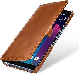 StilGut Book Type Housse en Cuir pour HTC U11+. Étui de Protection HTC U11+ en Cuir véritable à Ouverture latérale et Fonction Smart-Cover, Cognac avec Clip