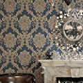 """Blooming Wall R0307 Non-woven Vintage Blue French Damask Textured Wallpaper Roll Wall Paper for Livingroom Bedroom 20.8"""" x 393.7"""""""