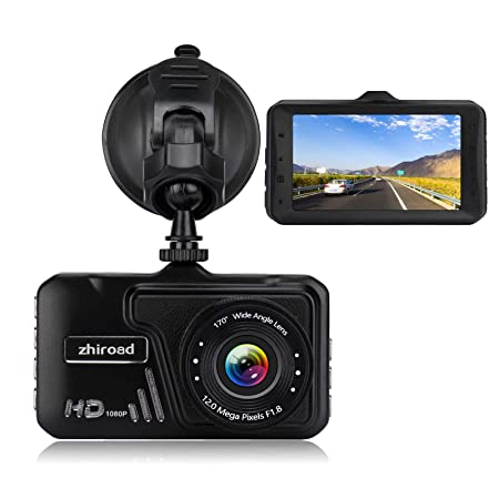 Dash Cam zhiroad 1080P FHD 3 LCD Screen Car Camera Car On-Dash Video Recorder Dashboard Camera with 170 Wide Angle Night Vision G-Sensor Motion Detection Parking Monitor Loop Recording