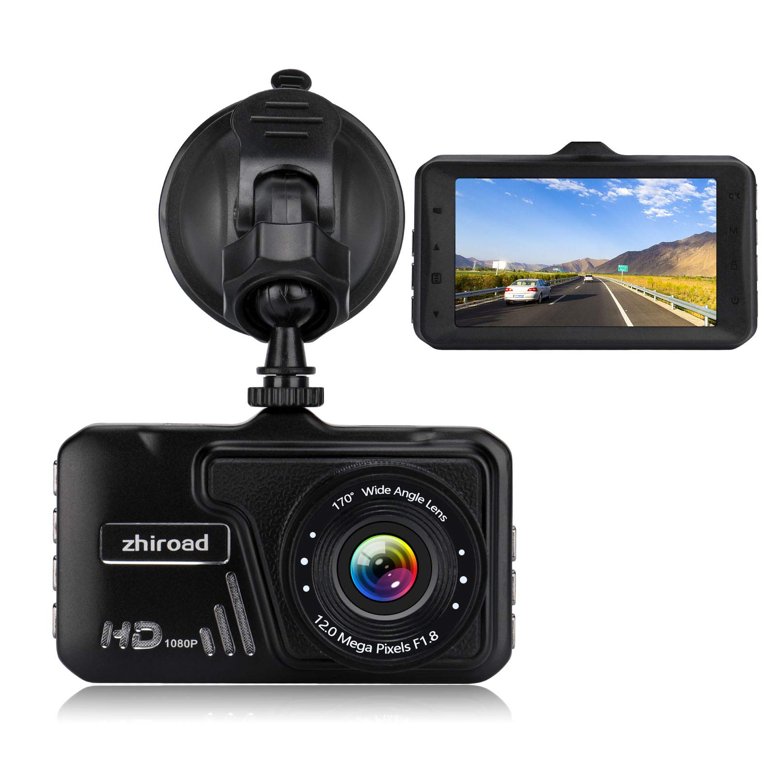 Dash Cam,zhiroad 1080P FHD 3″ LCD Screen Car Camera Car On-Dash Video Recorder Dashboard Camera with 170°Wide Angle Night Vision G-Sensor Motion Detection Parking Monitor Loop Recording