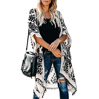 Sidefeel Women Print Pom Pom Tassel Kimono Beach Cover Up Cardigan Top One Size Black at Women's Clothing store