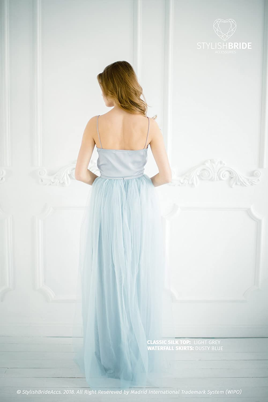 67180f78e Amazon.com: Dusty Blue #136 Tulle Dress with Light Grey Silk Classic Cami  Top, Grey Long Floor Length Waterfall Skirt, Simple Engagement Dress:  Handmade