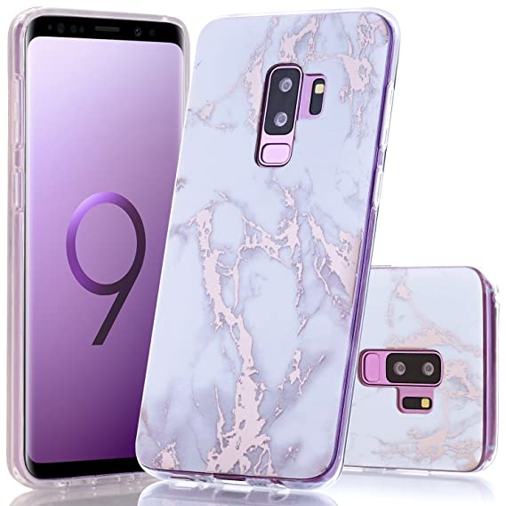 new concept 15341 2ace8 Galaxy S9 Plus Case, Shiny Rose Gold White Marble Design BAISRKE Slim  Flexible Soft Silicone Bumper Shockproof Gel Clear TPU Rubber Glossy Skin  Cover ...