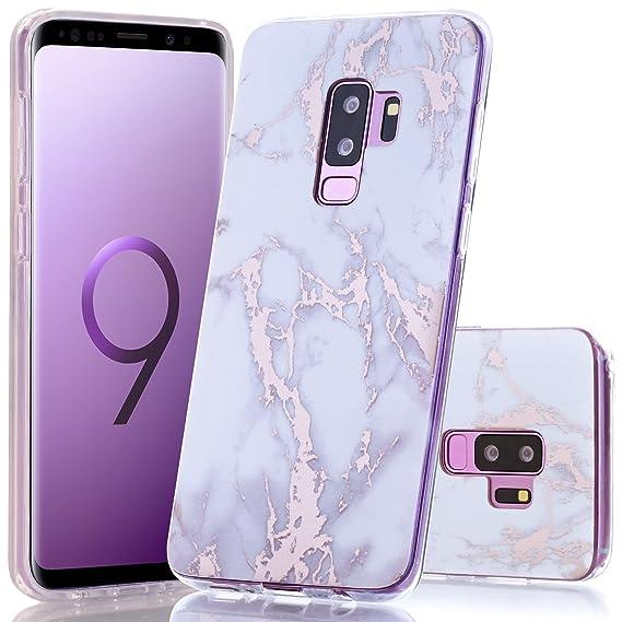 82e5cf5bc5 Galaxy S9 Plus Case, Shiny Rose Gold White Marble Design BAISRKE Slim  Flexible Soft Silicone