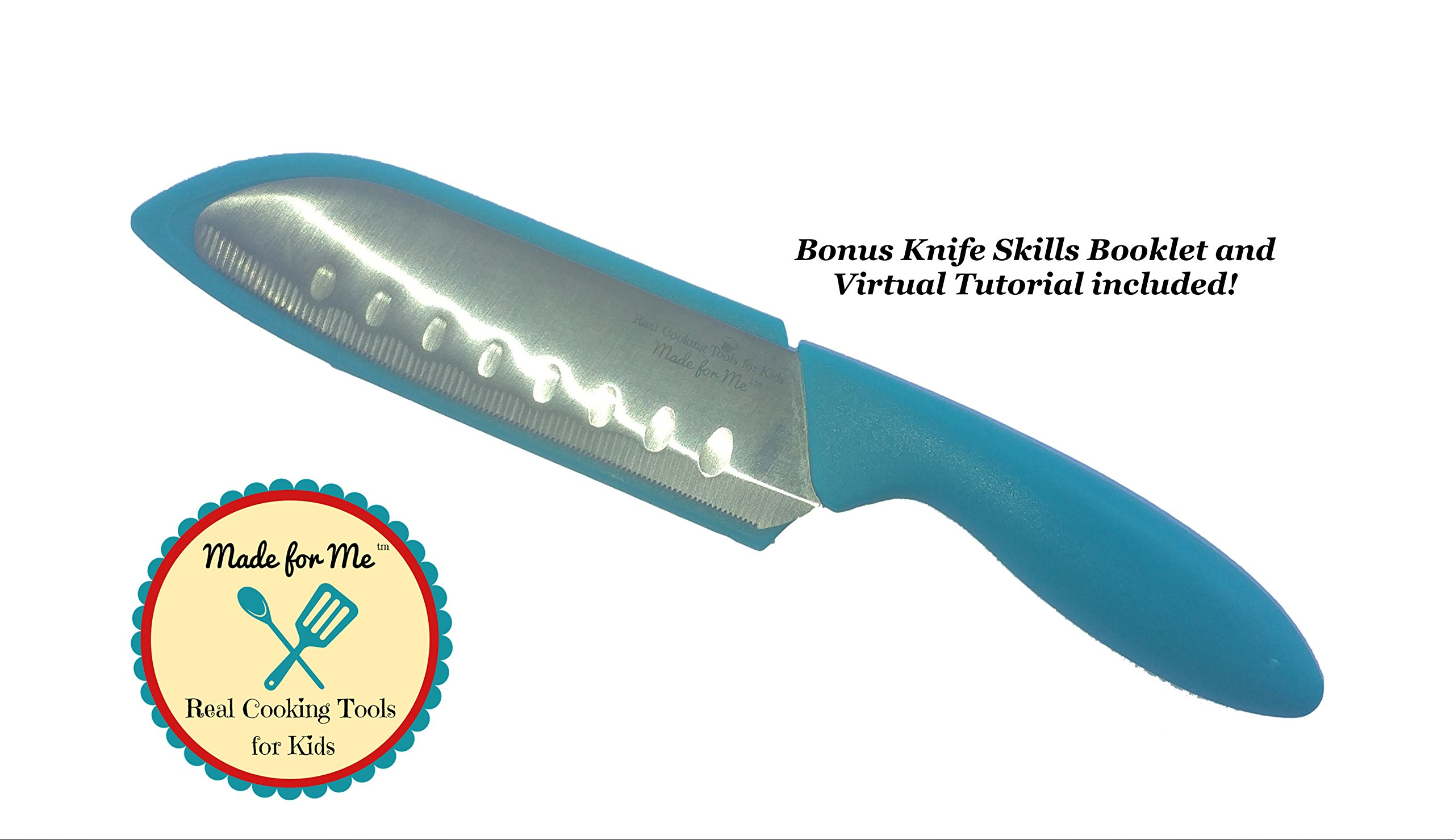 BEGINNER'S CHEF KNIFE - Kids Favorite and Parents #1 choice for safety and design! - Bonus Knife Skills Booklet and Virtual Tutorial included!
