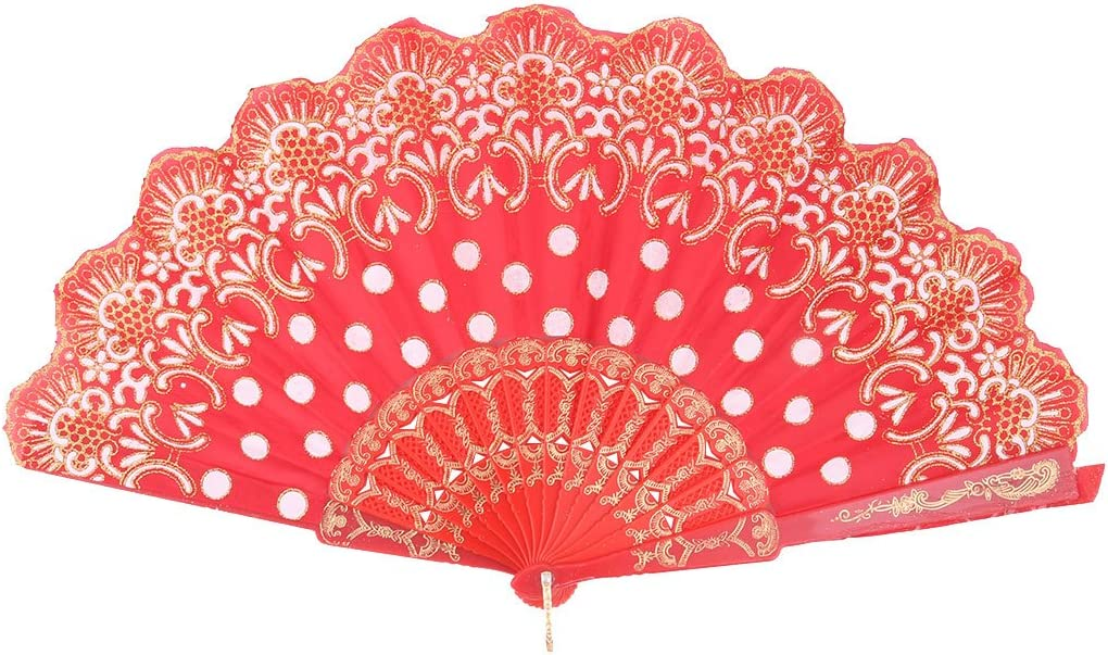uxcell Polyester Flower Printed Festival Dancing Folding Handle Fan 23.5cm Length Red