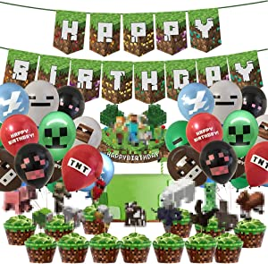 Pixel Miner Crafting Style Decorations for Miner Crafting Party Supplies-25PCS Cake Topper Cupcake Toppers, Pixel Banner,Pixel Miner Balloons for Gamer Birthday Party Decor