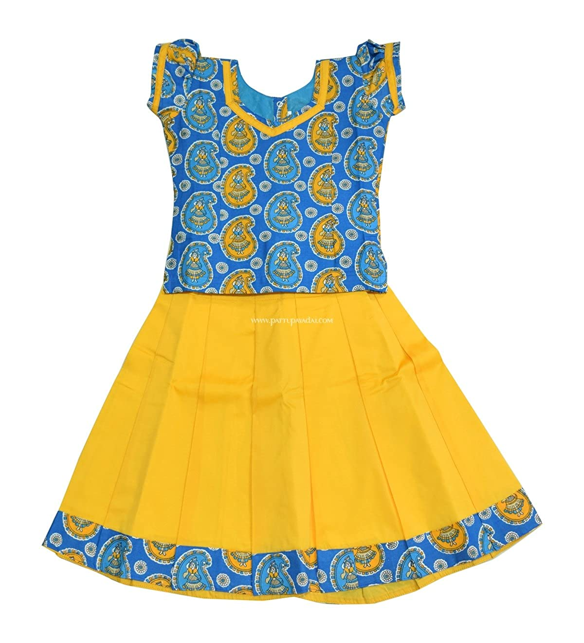 3a08b00e16a7 Pattu Pavadai Raw Silk Cotton Pavada Set Blue and Yellow for Baby Girls and  Kids: Amazon.in: Clothing & Accessories