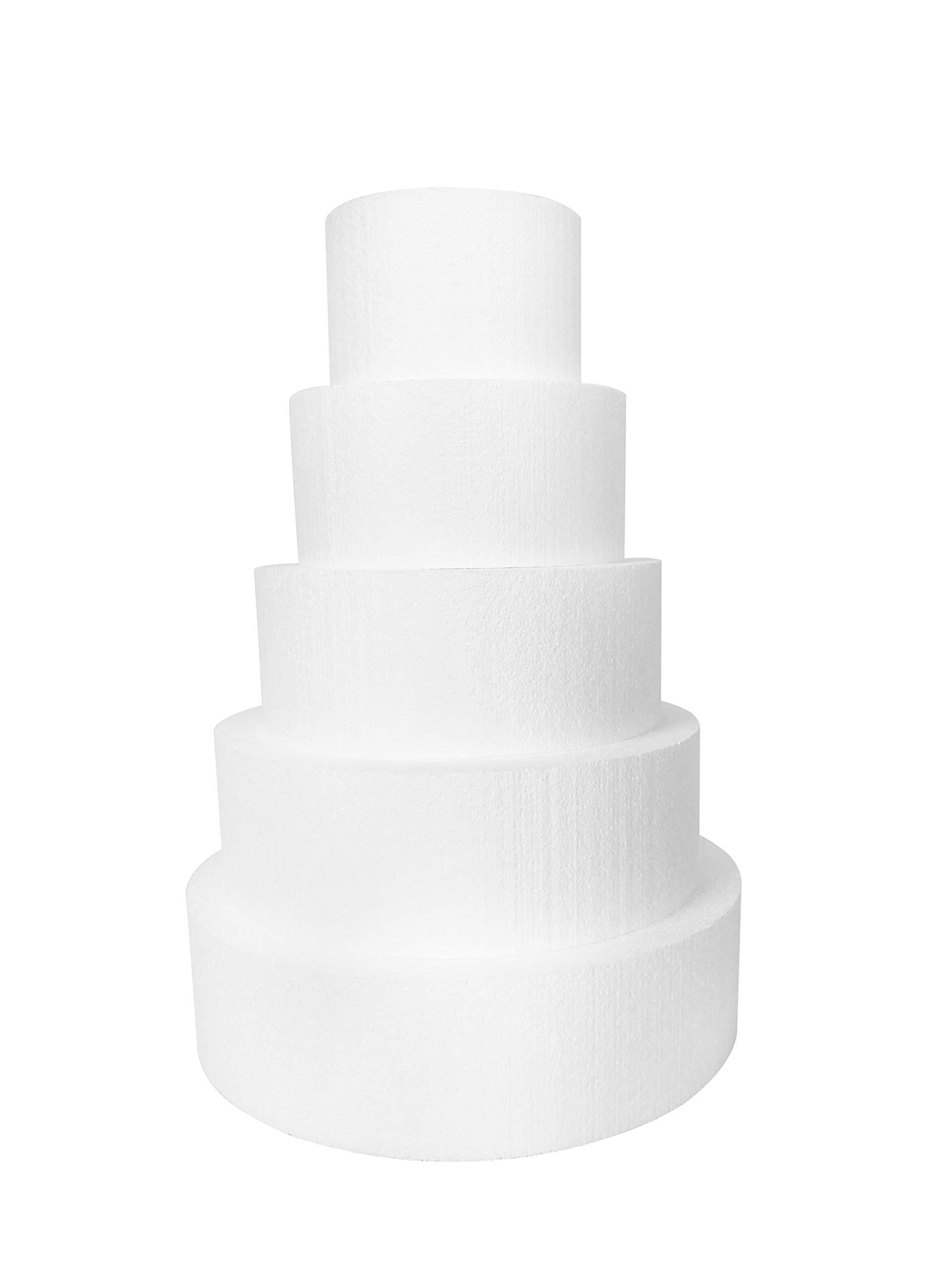 Round 4'' Cake Dummies - Set of 5, Each 4'' High by 6'', 8'', 10'', 12'', 14'' Round