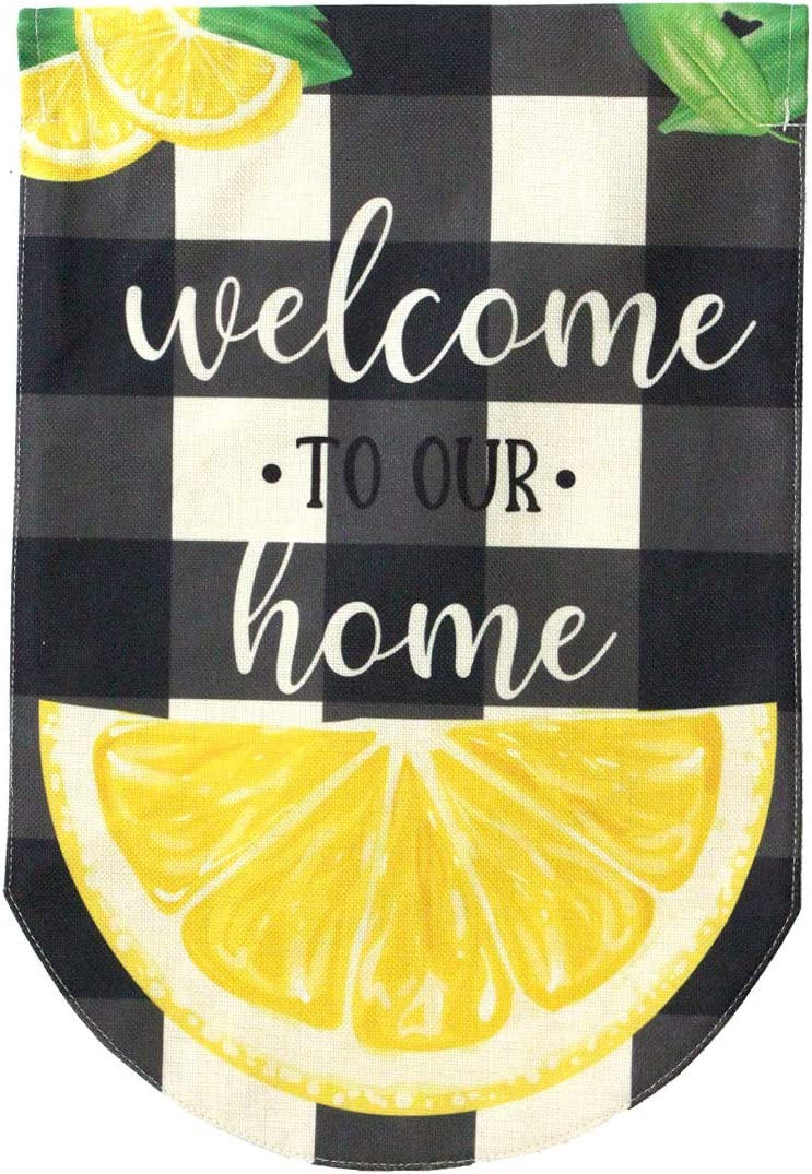 """Briarwood Lane Welcome to Our Home Summer Burlap Garden Flag Lemons Double-Sided 12.5"""" x 18"""""""