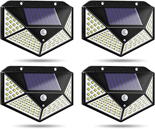 Solar Motion Lights Outdoor, Permande 100 LED Motion Sensor Security Light, Waterproof Solar Powered Fence Wall Lights for Patio, Deck, Yard, Garden
