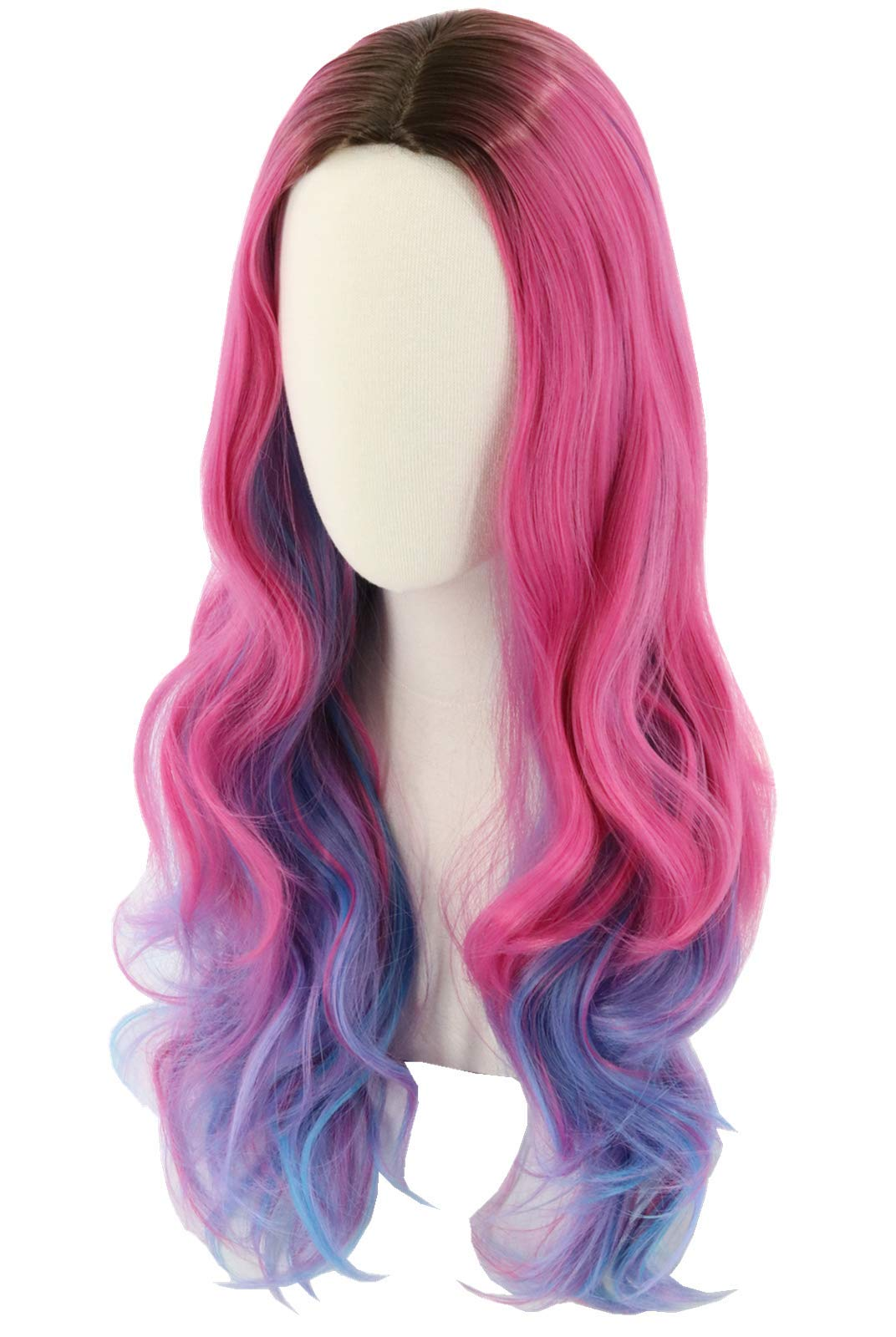 Topcosplay Kids Child Girls Wig Long Wavy Pink Mixed Blue Halloween Costume Party Wig Black Roots by Topcosplay