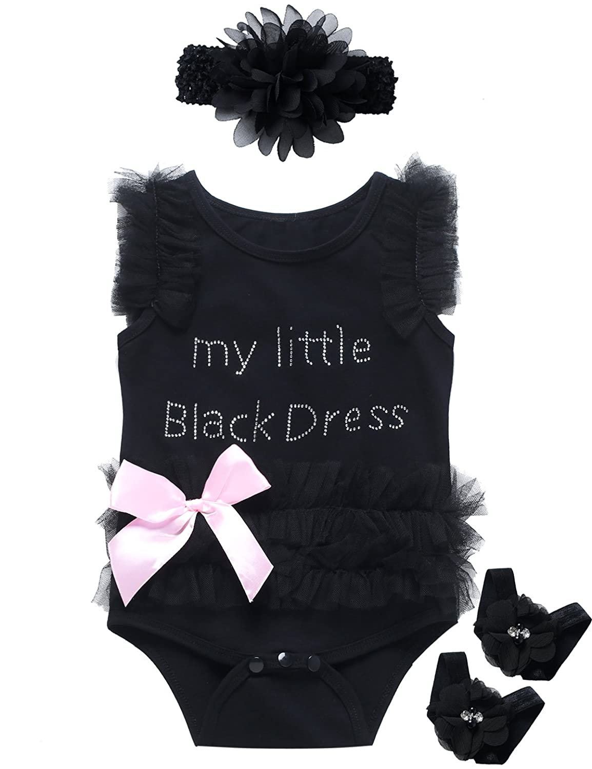Baby Girls' 3PCS Lace Tutu Embroidered Little Black Dress Bodysuit Outfit Set